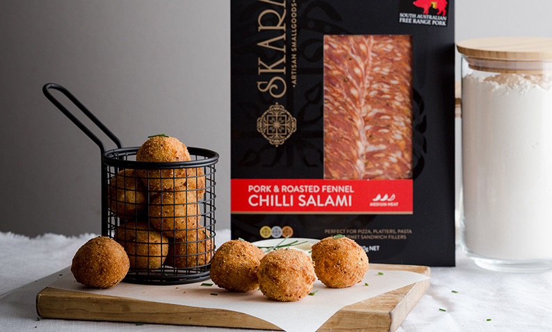 Salami and cheese croquettes