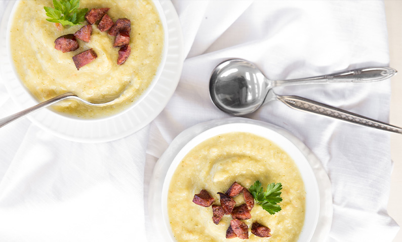 Potato and Leak Soup with Chorizo